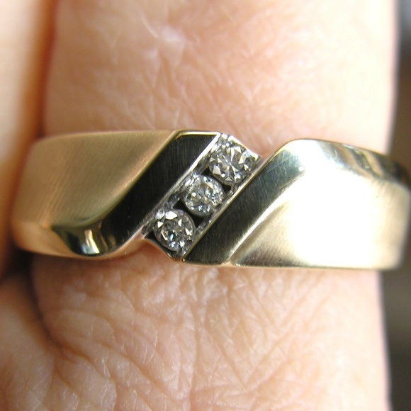 Mens Diamond Wedding Band 10k Gold Ring Sz 105
